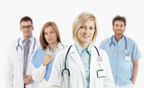 Young medical doctors smiling at camera