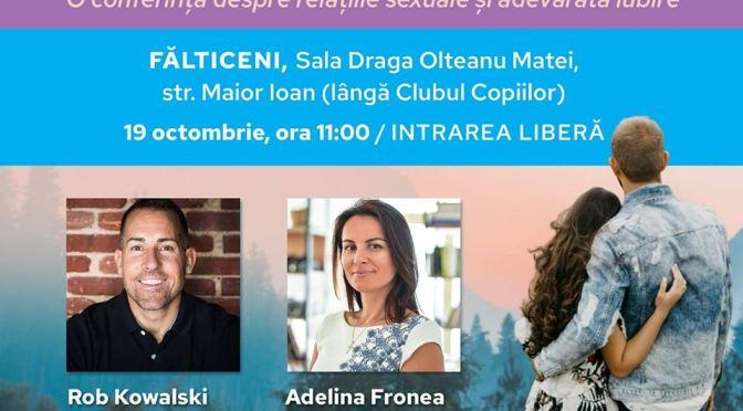Conferință despre relațiile sexuale și adevărata iubire, sâmbătă, la Fălticeni